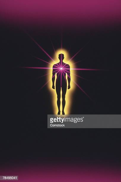 Silhouette of person glowing