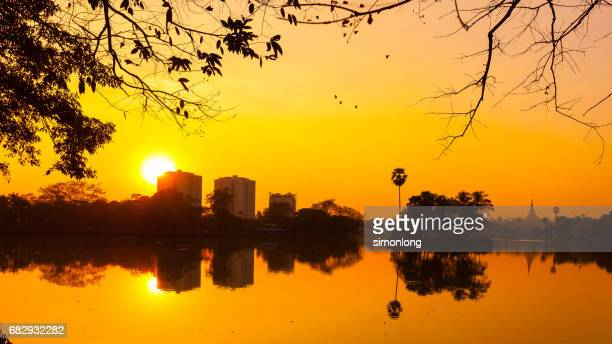 Silhouette of river at sunset