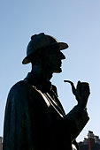 Silhouette of Sherlock Holmes statue, close-up