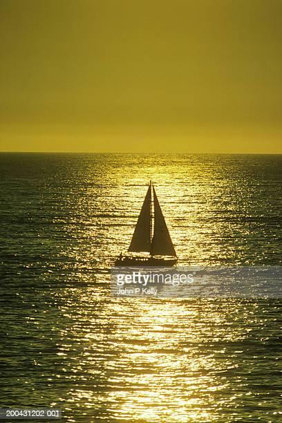 Silhouette of sloop, sunset