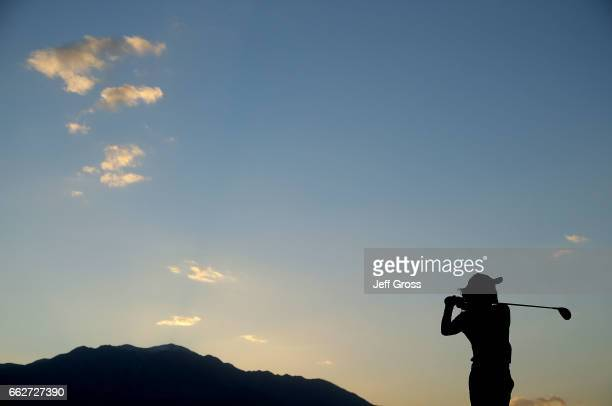 A silhouette of So Yeon Ryu of the Republic of Korea as she plays a tee shot on the 18th hole during the second round of the ANA Inspiration at the...