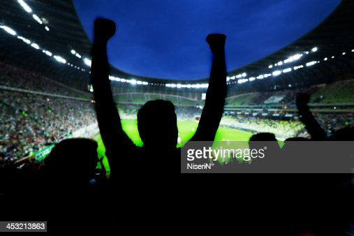 Silhouette of sports fans celebrating at arena : Stock Photo