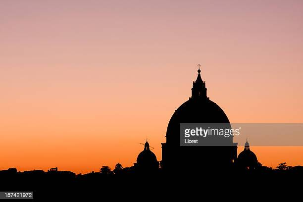 Silhouette of St. Peter's Basilica in Vatican City