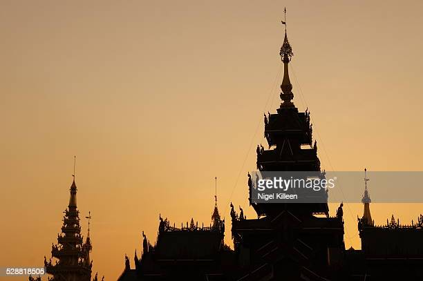 Silhouette of temple structures