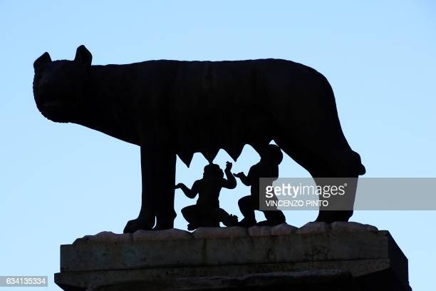 A silhouette of The Capitoline Wolf a bronze sculpture of the mythical shewolf suckling the twins Romulus and Remus is pictured in Rome's Campidoglio...