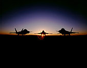 Silhouette of the F-22 Raptor, developed at Aeronautical Systems Center, Wright-Patterson Air Force Base, Ohio, is the replacement for the F-15 Eagle air-superiority fighter and will become operationa