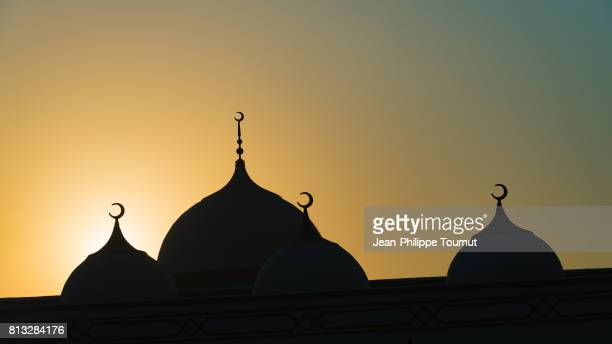 Silhouette of the roof of the Mosque of Laft during sunset, Qeshm Island, Persian Gulf, Iran