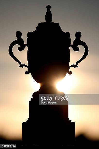 A silhouette of the Webb Ellis Cup before the 2015 Rugby World Cup Pool D match between France and Italy at Twickenham Stadium on September 19 2015...