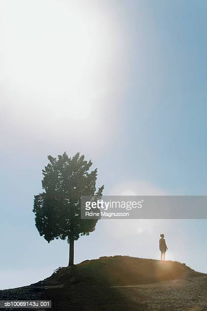 Silhouette of tree and woman on top of hill