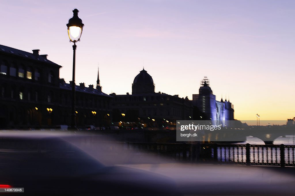 Silhouette of urban buildings at sunset : Stock Photo