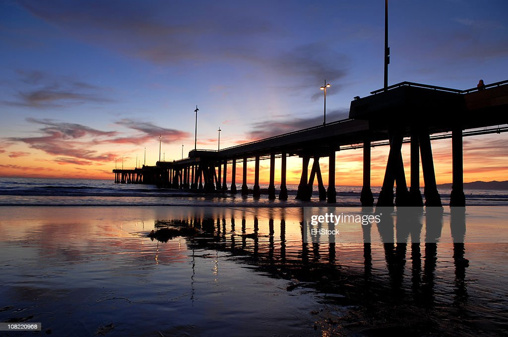 Silhouette of Venice Beach Pier at Sunset : Stock Photo