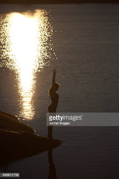 Silhouette of woman at dusk