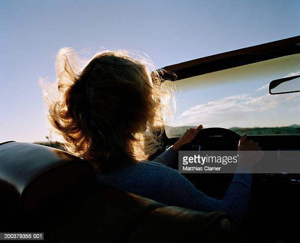 Silhouette of woman driving convertible, rear view, close-up