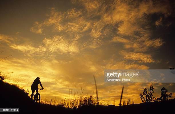 Silhouette der Frau Mountainbiken bei Sonnenuntergang