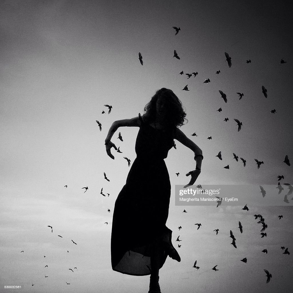 Silhouette Of Woman Standing On One Leg, Birds Flying In Background