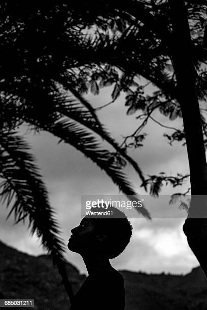 Silhouette of womans head in nature