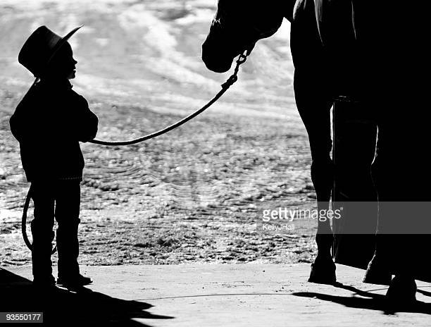 Silhouette of young cowboy and his horse