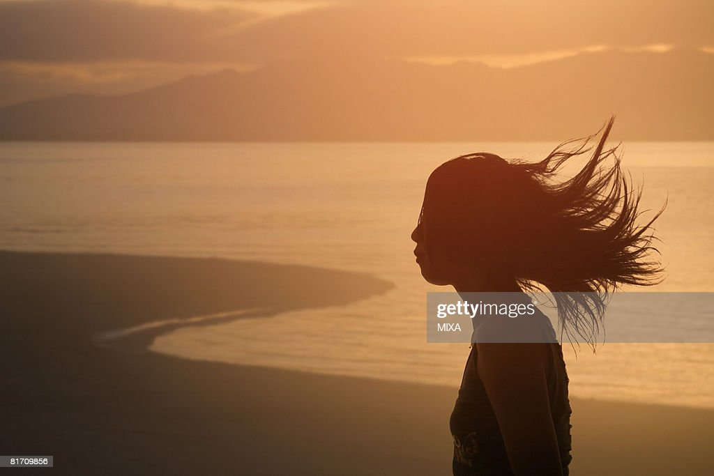 Silhouette of young woman standing by lake : Stock Photo