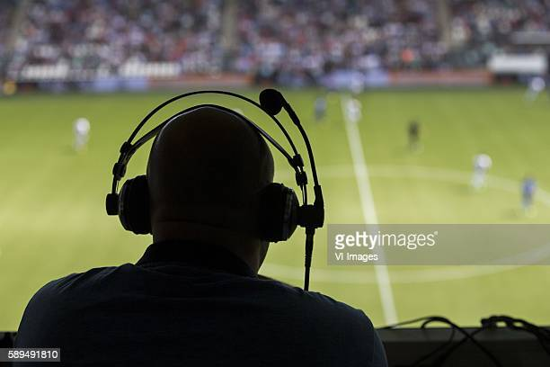 silhouette off a commentator during the Dutch Eredivisie match between Heracles Almelo and Willem II at the Polman Stadium on august 14 2016 in...