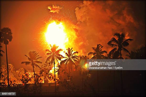 Silhouette Palm Trees On Field Against Fire At Night