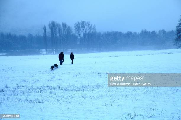 Silhouette People And Dogs On Snow Field Against Sky