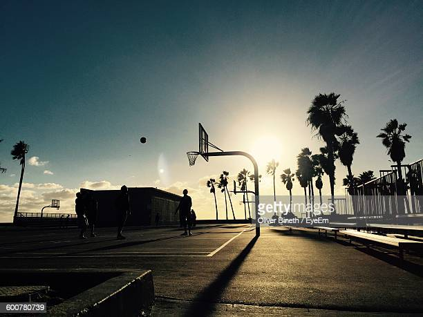 Silhouette People Playing Basketball At Marina Del Rey Against Sky