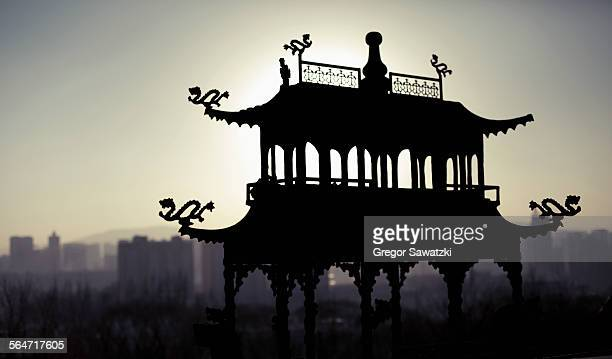 Silhouette structure at Taer Monastery during sunset, Xining, Qinghai Province, China