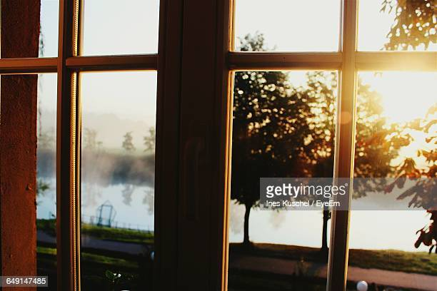 Silhouette Trees By Lake Seen Through Closed Window During Sunrise