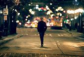 Silhouette walking in downtown seattle