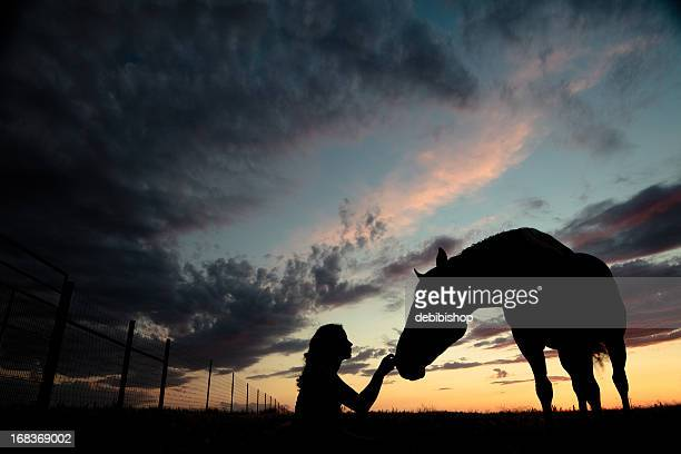 Silhouette Woman Petting Horse