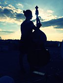 Silhouette Woman With Cello On Field Against Cloudy Sky During Sunset