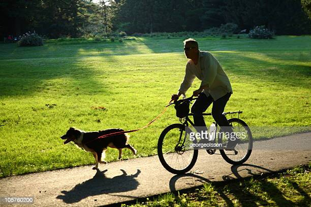 Silhouetted Cyclist And Dog