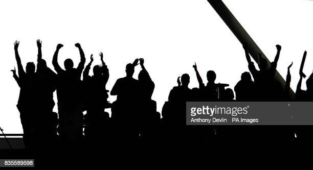 Silhouetted fans in the stands during the ICC World Twenty20 Super Eights match at The Brit Oval London