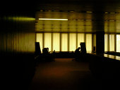 Silhouetted man in office