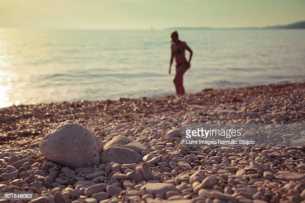 Silhouetted Person On Beach, Dugi Otok, Dalmatia, Croatia, Europe