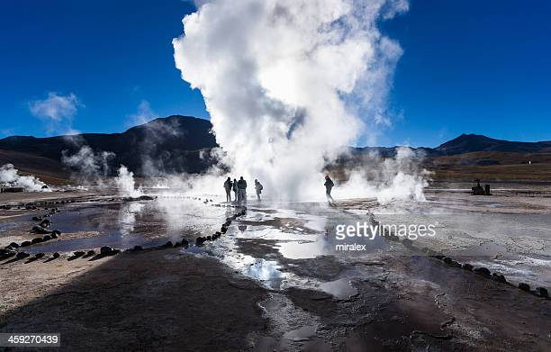 Silhouettes in El Tatio Geysers at Sunrise, Andes Mountains, Chile
