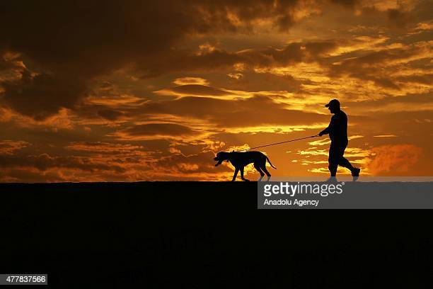 Silhouettes of a man and his dog are seen during sunset in Abana district of Kastamonu a province in the Black Sea region of Turkey on June 17 2015