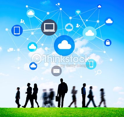 Silhouettes Of Business People With Social Networking Symbols Stock
