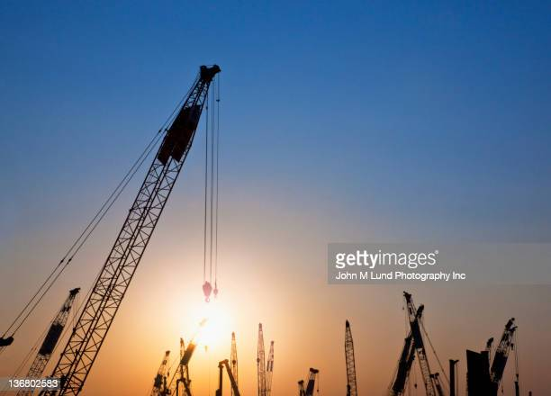 Silhouettes of cranes against sky