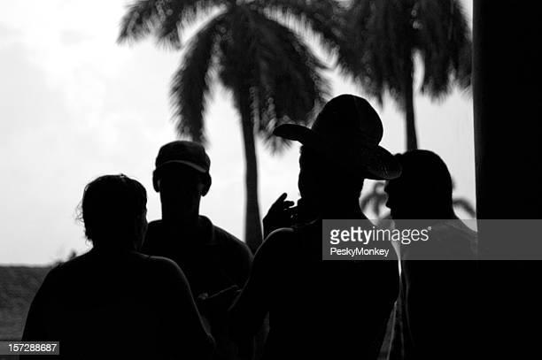 Silhouettes of Cuban Men Palm Trees in Cuba