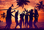 Silhouettes of Diverse Multiethnic People Partying