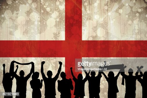 Silhouettes of football supporters : Stock Photo