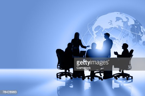 Silhouettes of global business people meeting : Foto de stock