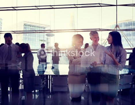 Silhouettes Of Multi-Ethnic Group Of Business People Working Tog
