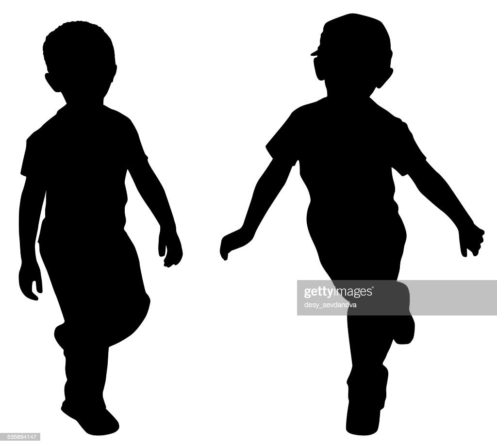 Silhouettes of two little boys : Stock Photo