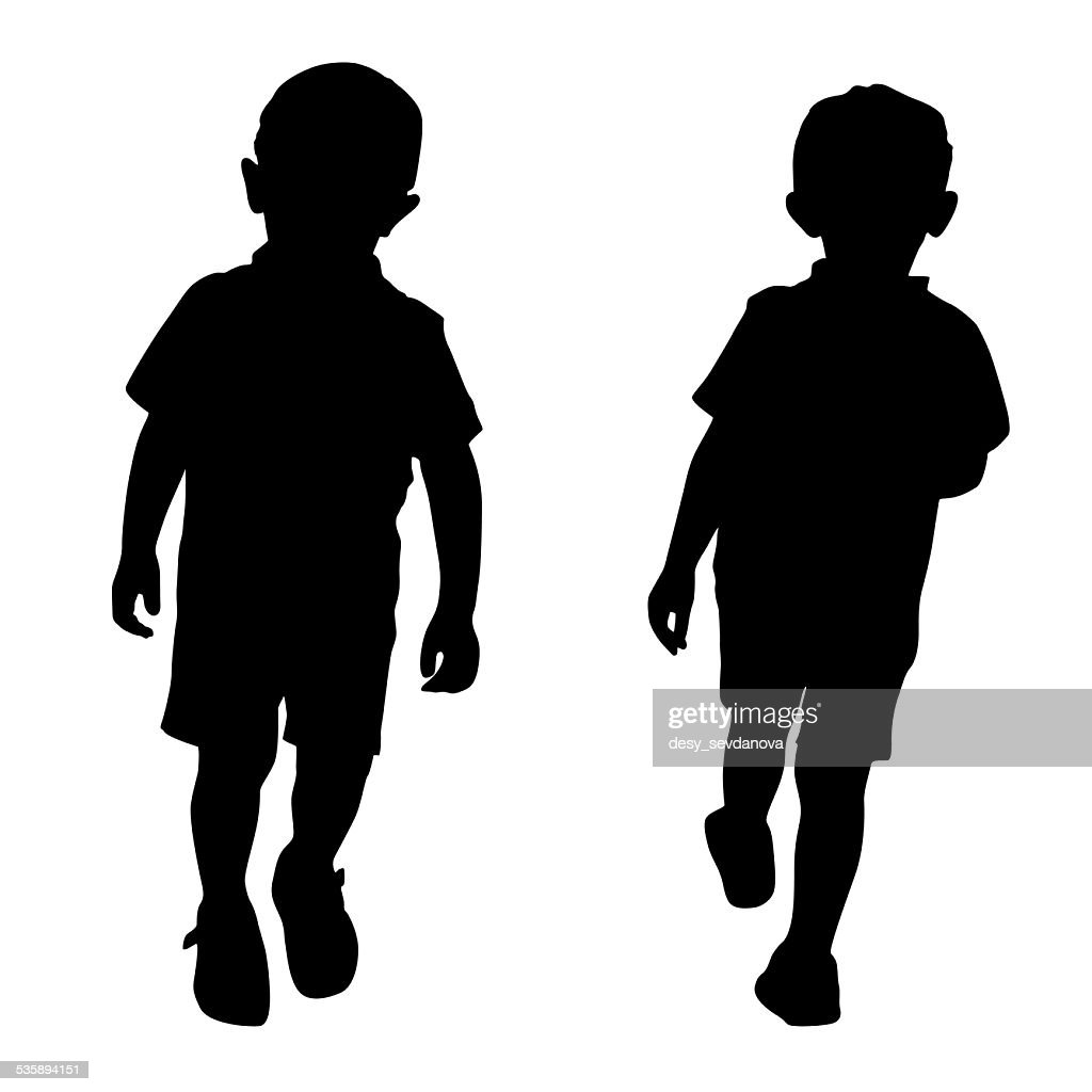 Silhouetten von zwei jungen : Stock-Foto