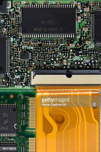 Silicon memory chips in a laptop integrated circuit board
