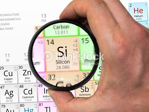 Silicon Symbol Element Of The Periodic Table Zoomed With M Stock