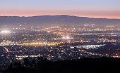 Looking West from Mount Hamilton at Santa Clara Valley and Santa Cruz Mountains. San Jose, Santa Clara County, California, USA.