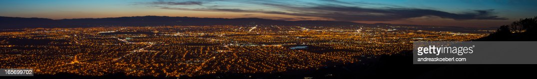 Silicon Valley Panorama at night with lights